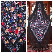 Art Deco Embroidered Millefiori Black Silk Canton Manton De Manila Piano Shawl