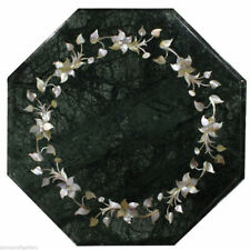"""12"""" green marble inlay work table top unique mother of pearl flower design"""