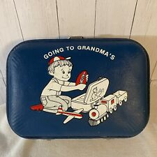Rare Vintage 'Going to Grandma's House' Child Suitcase Blue Boy Playing w/Toys