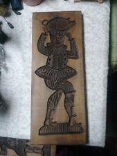 Folk Art Vintage Hand Carved Wood Plaque Black Forest Primitive EUC Estate Find