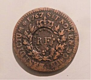 Faench Colonial coin Sou 1767 Counterstamp RF