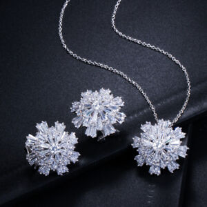 CWWZircons Rose Gold Snowflake CZ Necklace Earrings Jewelry Set for Women Gift