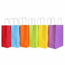 1-100pcs LUXURY KRAFT PAPER 15*8*21CM GIFT PARTY BAGS WITH HANDLES 10 Colors