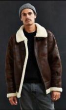Urban Outfitters Faux Leather Sherpa lining B--3 Bomber Pilot Jacket Mens  XS