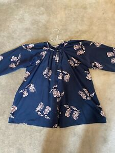 Tucker Blue Patterned Silk Blouse, One Size - Used but in good condition