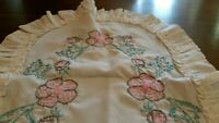 "Vintage Hand Embroidered Table Runner Dresser Mantle Scarf Ruffle Pink  40""×14"""