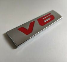 Red Silver Chrome 3D Metal V6 Badge Emblem for Hyundai Coupe Veloster Sante Fe