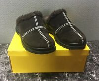 Yellow Box Brown Slip On Brown Suede Women's Size 6 Clogs Mules Shoes