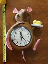 "Rare Htf Disney Store Ratatouille Remy Figure Kitchen Wall Clock 10"" Tall Works"