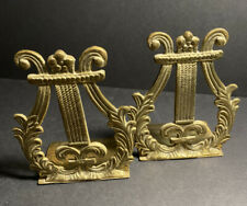 Vtg Pair Gatco Solid Brass Ornate Harp Lyre Bookends Music French Scroll Design