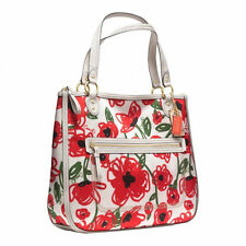 Coach Glam Zip Top Tote Poppy Print White Red Green Floral Hallie Bag Sateen New