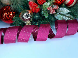 CHRISTMAS WIRED EDGE RIBBON 1.5 IN WIDE BURGUNDY TREE WRAP GIFT WRAPPING BULK