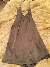 DESIGNER LAUREN JANE SILVER SILK HALTER DRESS GREY KNEE LENGTH OPEN BACK SIZE 0