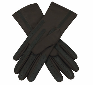 Vintage Isotoner Chevron Accents Brown Driving Leather Nylon Spandex Gloves GIFT
