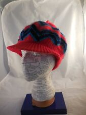 Vintage Stocking Cap Bill Pompom Red and Blue