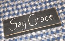 """Rustic Primitive Country Wood sign """"SAY GRACE"""" home decor"""