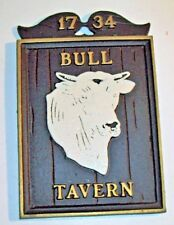 Bull Tavern Wall Sign Plaque ~Retro Cast Metal Usa ~ Party Room Bar Man Cave