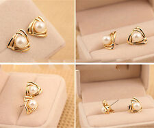 New Women 18K White Gold Plated Genuine Pearl Drop Stud Earrings Wedding Gift