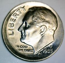 1983 ERROR Off Center Roosevelt Dime NICE EARLY DATE BU + Coin O/C LOT #PQ3  NR