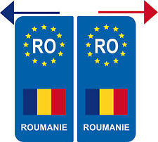 LOT  2 Stickers Europe ROUMANIE 1 GAUCHE + 1 DROIT
