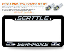 NFL Seattle Seahawks (1PC) BLACK PLASTIC License Plate Frame ,FREE 2LED 194BULB