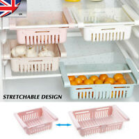 Fridge Organizer Drawer Adjustable Storage Refrigerator Basket Kitchen Rack WANG