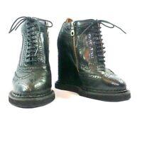 MIHARAYASUHIRO Women's Shoes Black Lace up Platform Wedge Brogue
