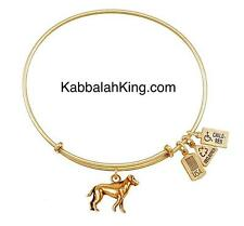 Wind & Fire 3D Dog Canine Charm Gold Wire Stackable Bangle Bracelet Made In USA