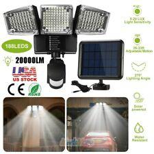 188 Led 20000lm Solar Motion Sensor Floodlight Outdoor Wall Light Security Lamp