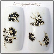 Nail Art 3D Decals/Stickers Black & Gold Flowers & Birds #140
