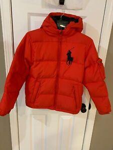 POLO Ralph Lauren Boy's Red/Navy Hooded Down Coat Size M (10-12)