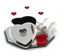 GELDGESCHENK zur HOCHZEIT versilberte Herz Schmuckdose mit Taubenpaar+ Spiegel