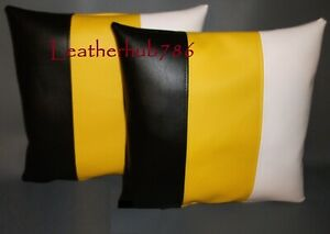 New Pillow Cushion Cover Black Yellow White Lambskin Leather Stripe Pattern 39