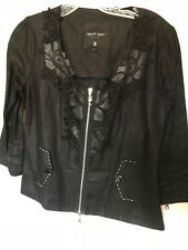 Tricot Chic Black Lace Zip Top - Size 6