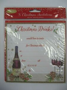 PACK OF 8 WONDERFUL COLOURFUL CHRISTMAS DRINKS CHRISTMAS PARTY INVITES