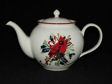 LENOX WINTERS GREETINGS TEAPOT RED CARDINAL BIRD PATTERN