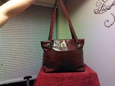 Vintage Etienne Aigner Oxblood Red leather Top Zip  handbag shoulder bag