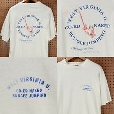 vtg 90s single stitch usa t-shirt XL calvin hobbes naked coed bungee jumping wvu