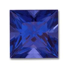 TWO PCS - 1 ct lab created  SAPPHIRE PRINCESS cut Deep Blue 6 X 6 MM