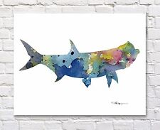 Tarpon Fish Abstract Watercolor Painting Art Print by Artist DJ Rogers