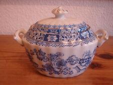 antike, große Zuckerdose, China Blau mit Goldrand