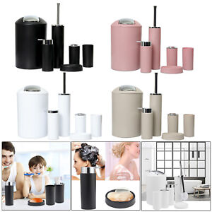 6x Bathroom Accessories Set Toothbrush Tumbler Holder Soap Dish Toilet Brush Bin