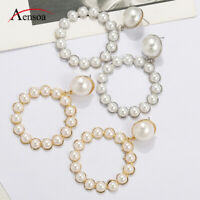 Trendy Women Pearl Circle Statement Geometric Drop Dangle Earrings Party Jewelry