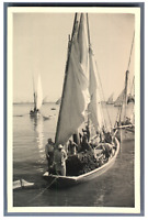 Egypte, Canal de Suez. Pêcheurs  Vintage silver print.  Tirage argentique  9