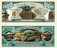 Pack of 25 - Baby Yoda Grogu Mandalorian Star Wars Novelty Dollar Bills