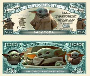 Pack of 25 - Baby Yoda Grogu Mandalorian Star Wars Novelty Dollar Bills