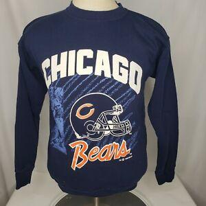 Vtg 90s Chicago Bears Crewneck Sweatshirt sz S/M NFL Mens Helmet 1992 Navy