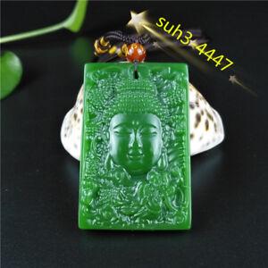 Green Jade Buddha Pendant Dragon Necklace Charm Jewellery Chinese Jadeite