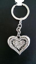 LOVE HEART SHAPE DIAMANTE KEYRING