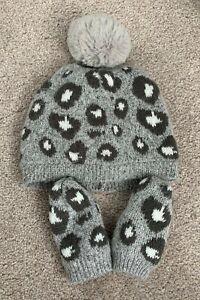 Grey leopard print hat & mittens. Next. 1-2 years.